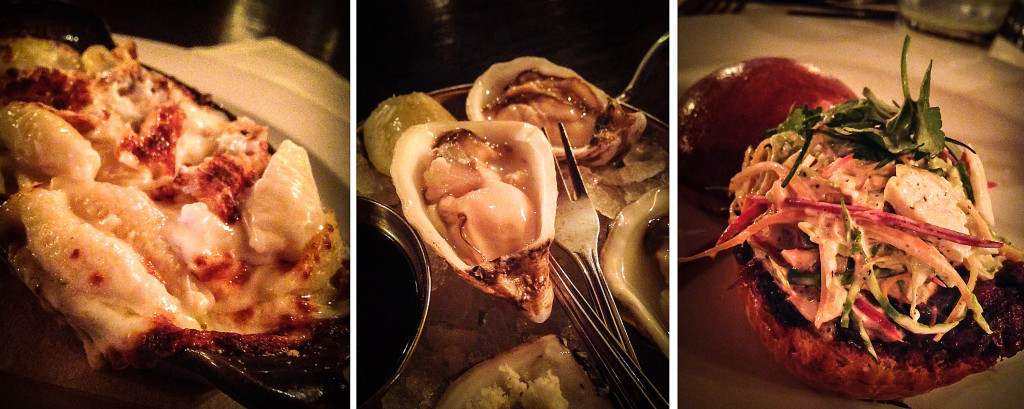 Shells & Cheese Gratinee, Market Oysters, Short Rib Slider