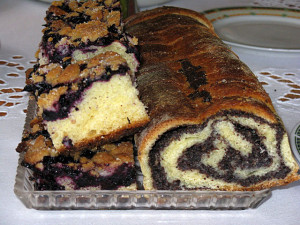 Delicious poppy seed roll and blueberry cake.