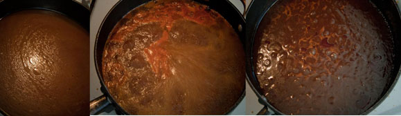 Stages of reducing Braising liquid into sauce
