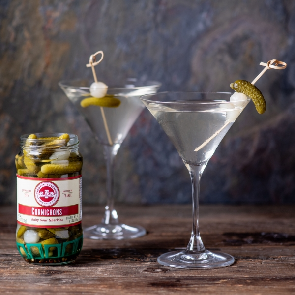 Dirty Gimlet with Cornichons (Baby Sour Gherkins)