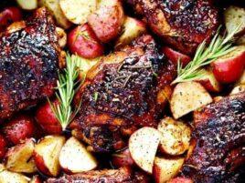 honey balsamic glazed chicken with potatoes